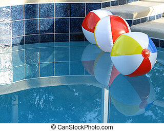 Beach Balls in the Pool - Shot of three beach balls in the...