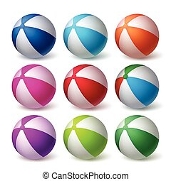 Beach Balls Vector Set in Colorful