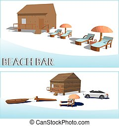 Beach bar and luxury car