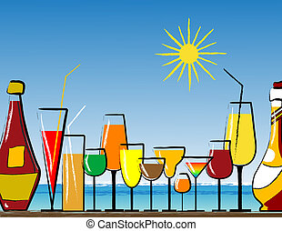 Cocktail bar with glass and bottles on the beach