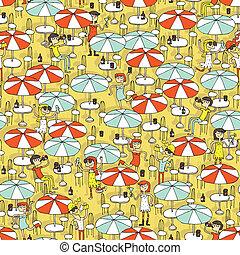 Beach bar seamless pattern