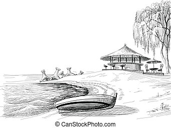 Beach bar sketch boat on shore vector