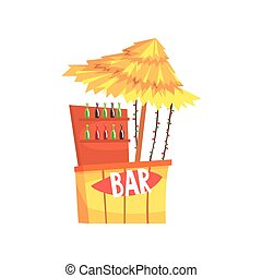 Beach bar stall, outdoor counter with a thatched roof cartoon vector Illustration