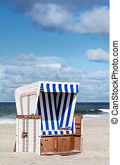 Beach basket on Sylt - a beach basket on the beach of Sylt