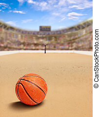 Beach Basketball Arena With Ball on Sand and Copy Space
