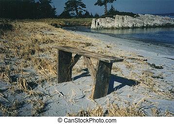 beach bench cape lahave island lunenburg county nova scotia