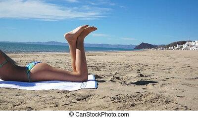 Beach Bikini Girl Lay Texting