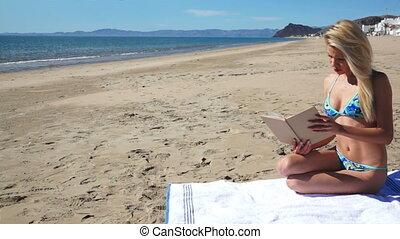 Beach Bikini Girl Sit Reading