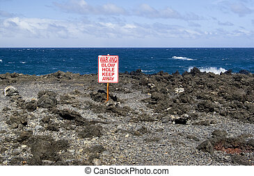 Beach Blow Hole Warning