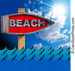 Beach - Boat Directional Sign - Wooden directional sign in...