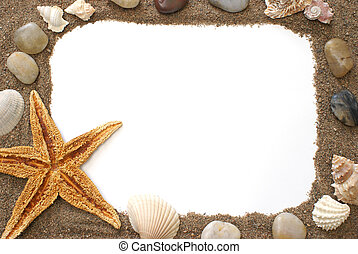 A border made of things you would find at the beach.