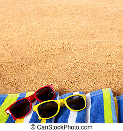 Beach border background sunglasses square format