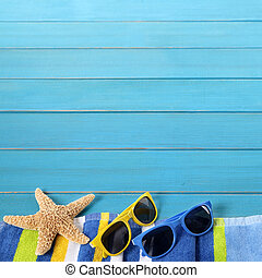 Beach border with blue decking