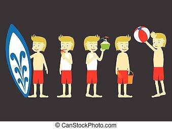 Beach Boy Flat Cartoon Design with different activities