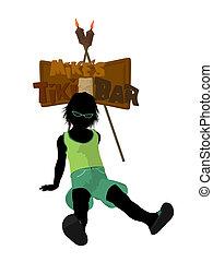 Beach Boy Silhouette Illustration - Beach boy with tiki...