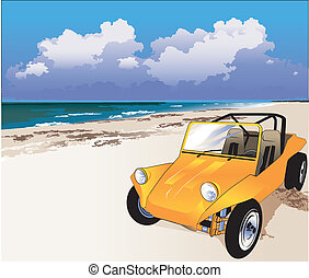 Beach Buggy - An orange dune buggy on the seashore