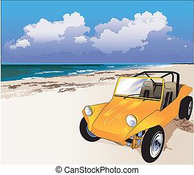 An orange dune buggy on the seashore