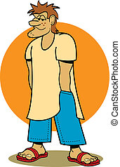 Beach bum college student clip art