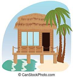 Beach bungalow hotel. - Flat scene with hut, sea, send,...
