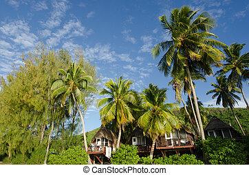 Beach bungalow in tropical pacific ocean Island.