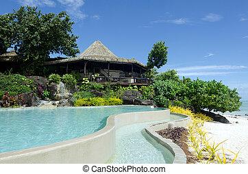 Beach bungalow in tropical pacific ocean Island. - Beach...