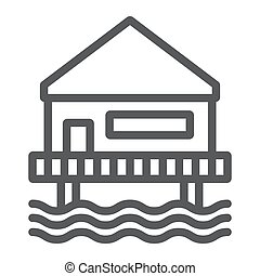 Beach bungalow line icon, seaside and hut, beach house sign, vector graphics, a linear pattern on a white background.