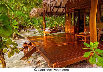 Beach bungalow - Maldives vacation background