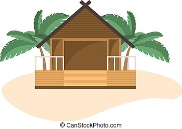 Beach bungalow on small island with palms. Isolated object...
