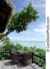 Beach bungalow on tropical pacific ocean Island - Empty...