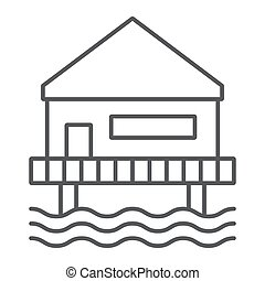 Beach bungalow thin line icon, seaside and hut, beach house sign, vector graphics, a linear pattern on a white background.