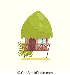 Beach bungalow, tropical house vector Illustration on a white background