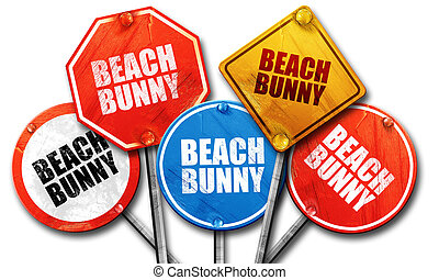 beach bunny, 3D rendering, street signs