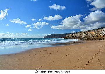 Beach by the Atlantic Ocean in Portugal.