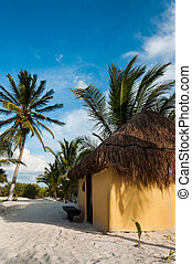 Beach cabanas huts Mexico Tulum Caribbean Riviera Maya Yucatan p