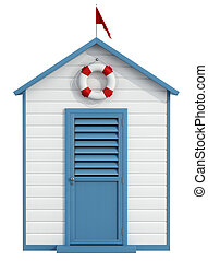 Beach Cabin - White and blue beach cabin with closed door, ...
