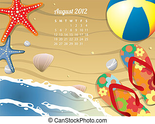 Beach Calendar for August 2012