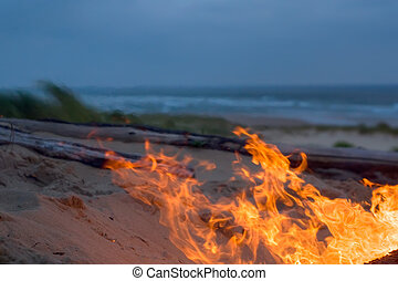 beach campfire at dusk and coastline view