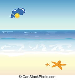 beach cartoon art vector illustration