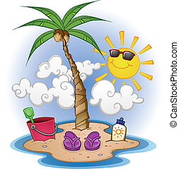 Beach Cartoon Scene - A cartoon scene of a tropical beach...