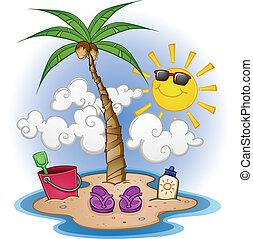 Beach Cartoon Scene - A cartoon scene of a tropical beach...