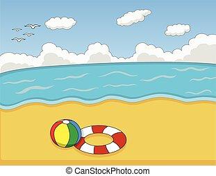 Beach cartoon vector illustration