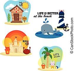 Beach Cartoon Vector Set