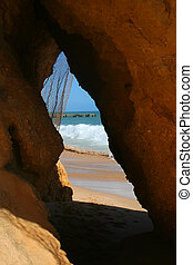 beach cave - cave in the Algarve, Portugal