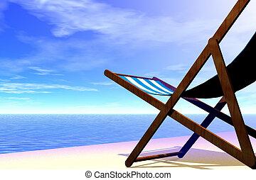3d render illustration of beach chair detail