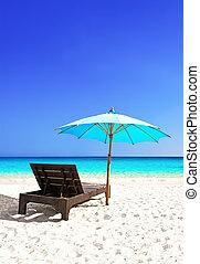 Beach chair and beautiful sand beach