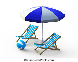 Beach chair and umbrella - Blue beach chair and umbrella on...