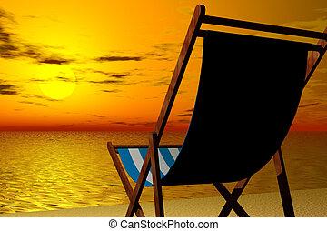 beach chair - 3d render illustration of beach chair detail...