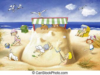 beach chair - family on the beach