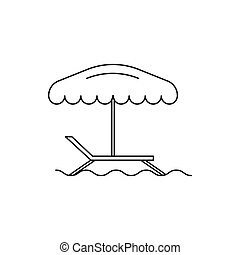 Beach chair icon, outline style