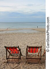 Beach Chair in Summer at Samui Island in Thailand
